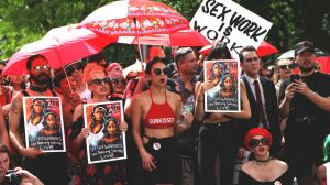 Sex workers protesting International Whores Day against FOSTA SESTA and sex trafficking